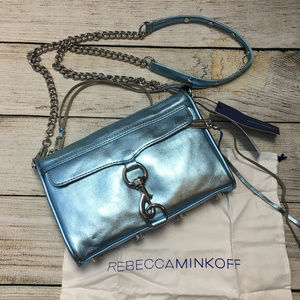 Rebecca Minkoff Mini Mac Metallic Gray Sky Bag